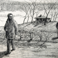 Man and his Past, Charcoal on paper, c. 1970
