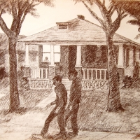Passing by Conte, Tulsa House, Charcoal on paper, 1971