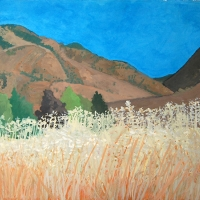 Fields and Hill, California, Gouache, 1990s