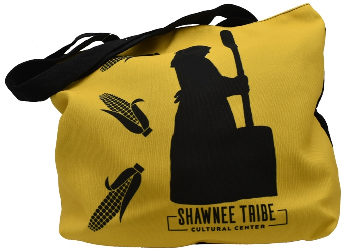 Tote bag with Shawnee woman using the corn pounder; yellow.