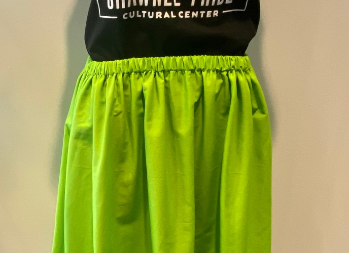 Lime green skirt with blue ribbons