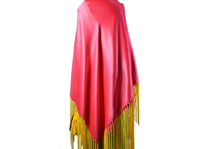 Pink with shine in the fabric; yellow fringe; Made by Carolyn Nott