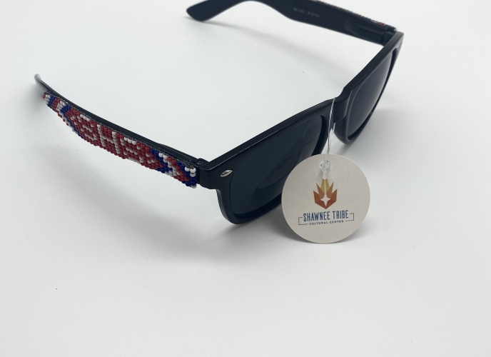 Beaded sunglasses; SHS with red, blue and white